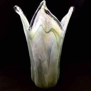 Hand Blown Light Green Clear White Lg Glass Vase